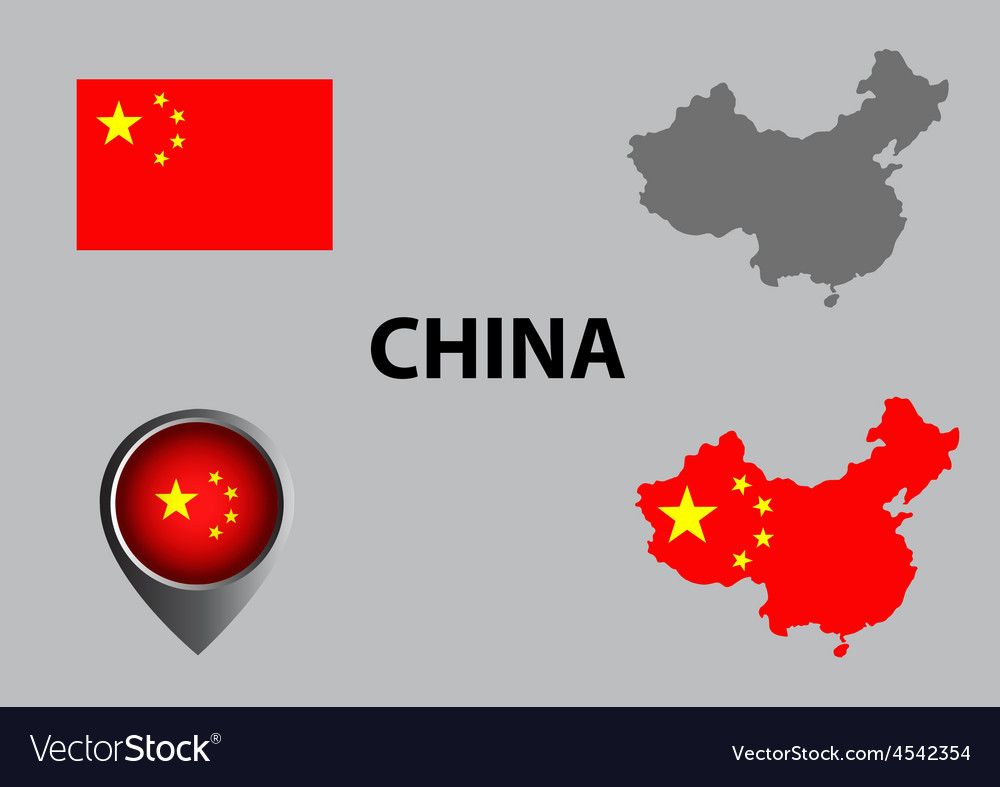 Map of china and symbol vector | Price: 1 Credit (USD $1)