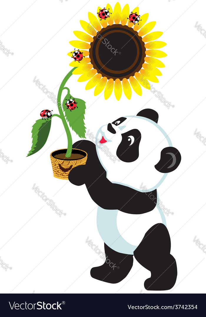Panda holding a sunflower vector | Price: 1 Credit (USD $1)