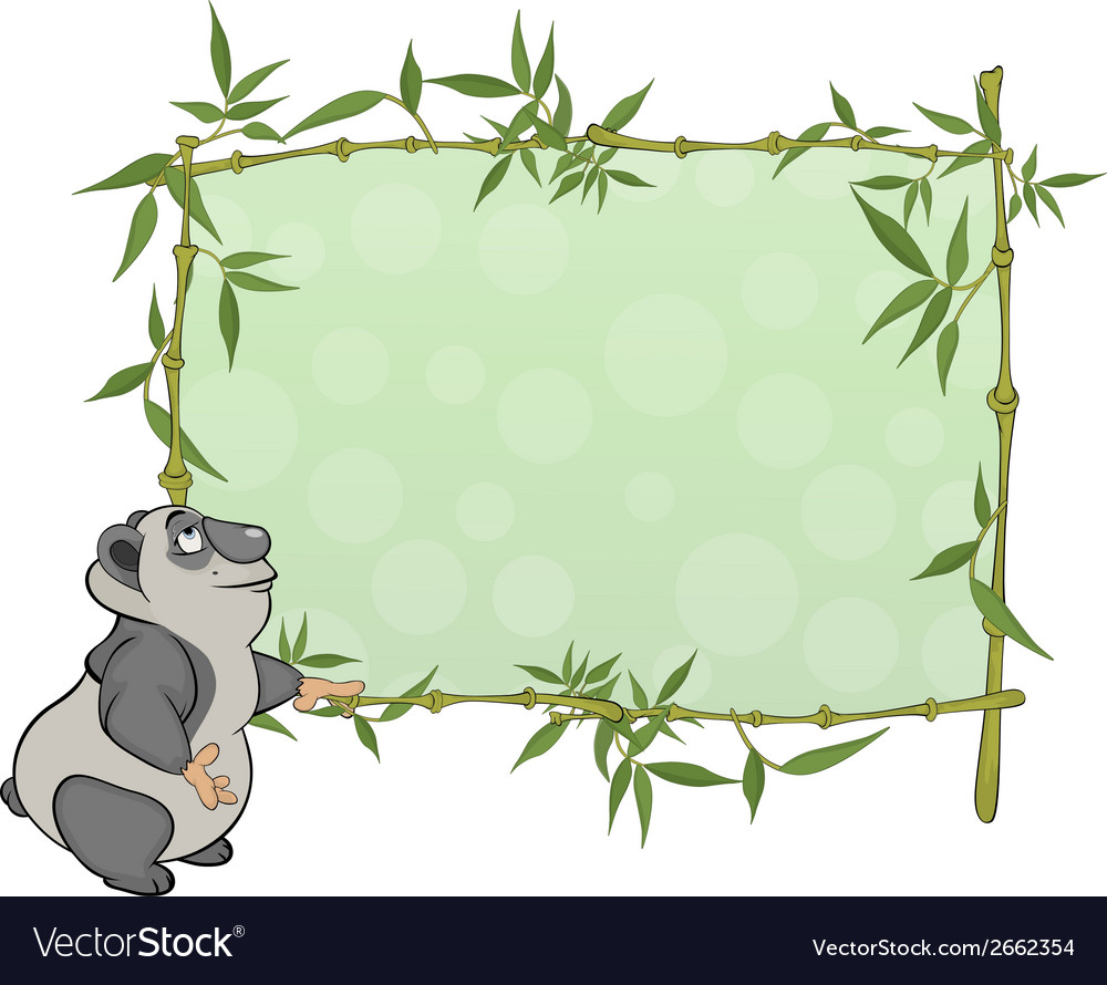 Panda with blank sign cartoon vector | Price: 1 Credit (USD $1)
