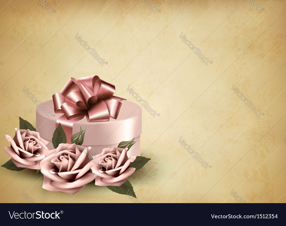 Retro holiday background with pink roses and gift vector | Price: 1 Credit (USD $1)