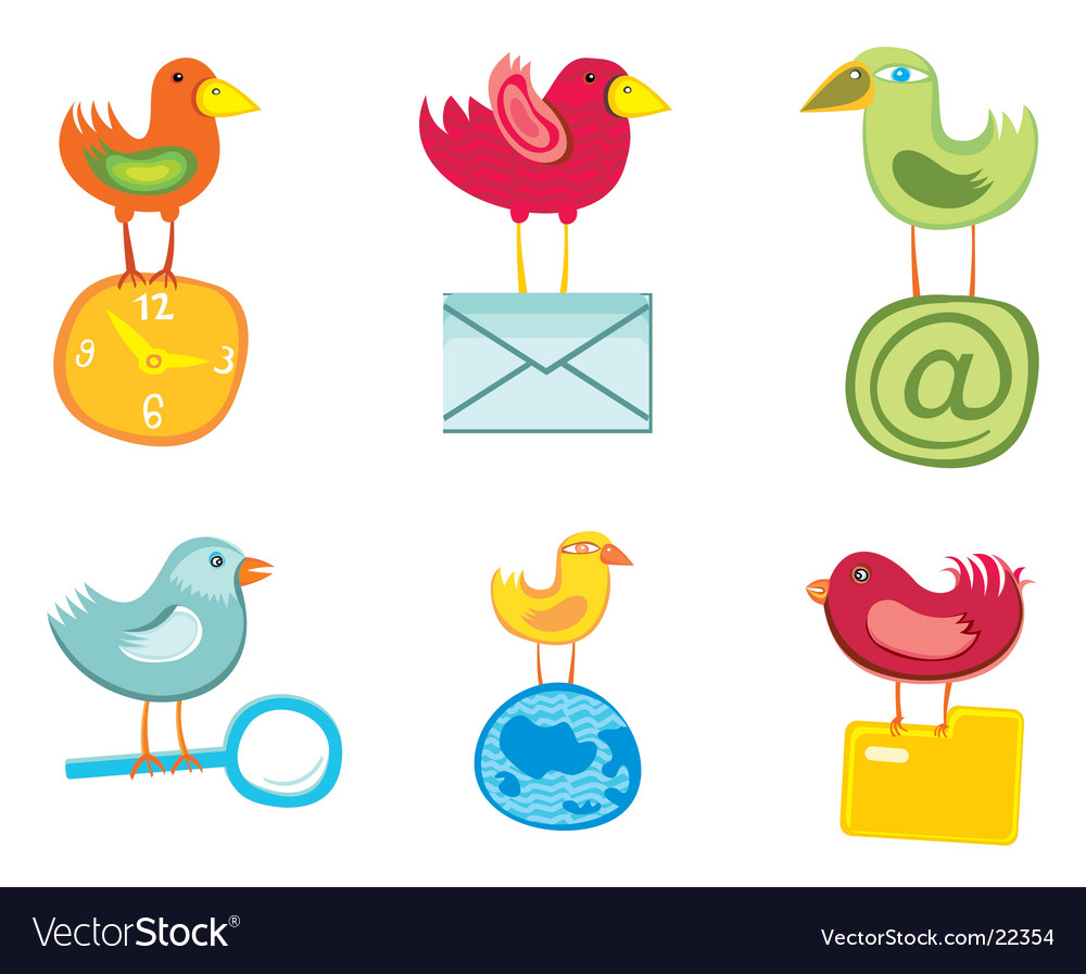 Set of birds icons vector