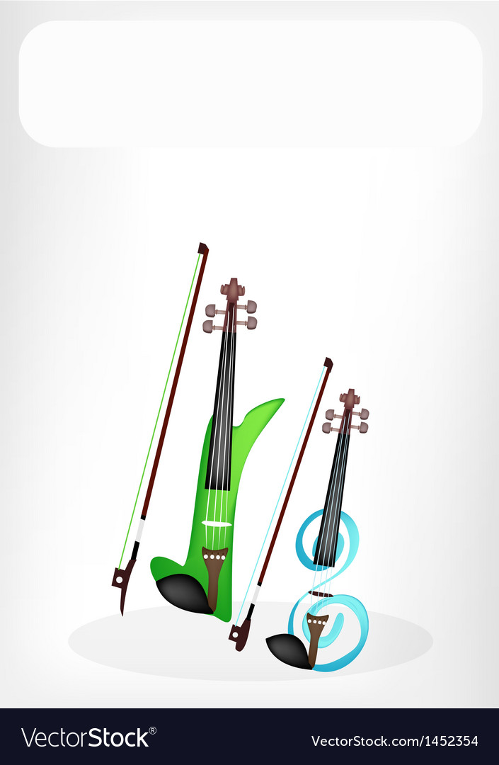 Two beautiful modern violins with a white banner vector | Price: 1 Credit (USD $1)