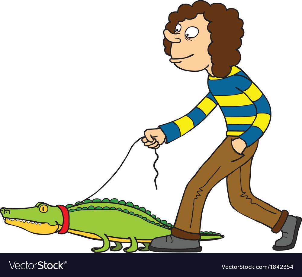Woman with pet crocodile vector   Price: 1 Credit (USD $1)
