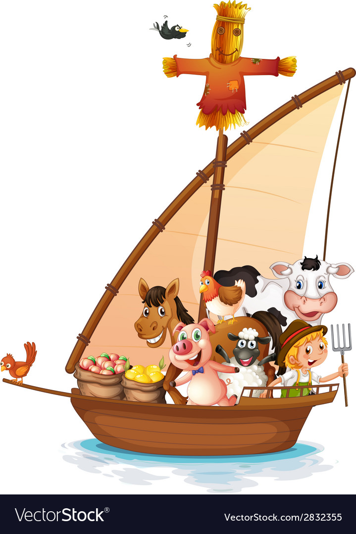 A boat full of animals vector   Price: 1 Credit (USD $1)