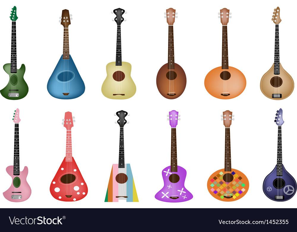 A set of beautiful ukulele guitars vector | Price: 3 Credit (USD $3)