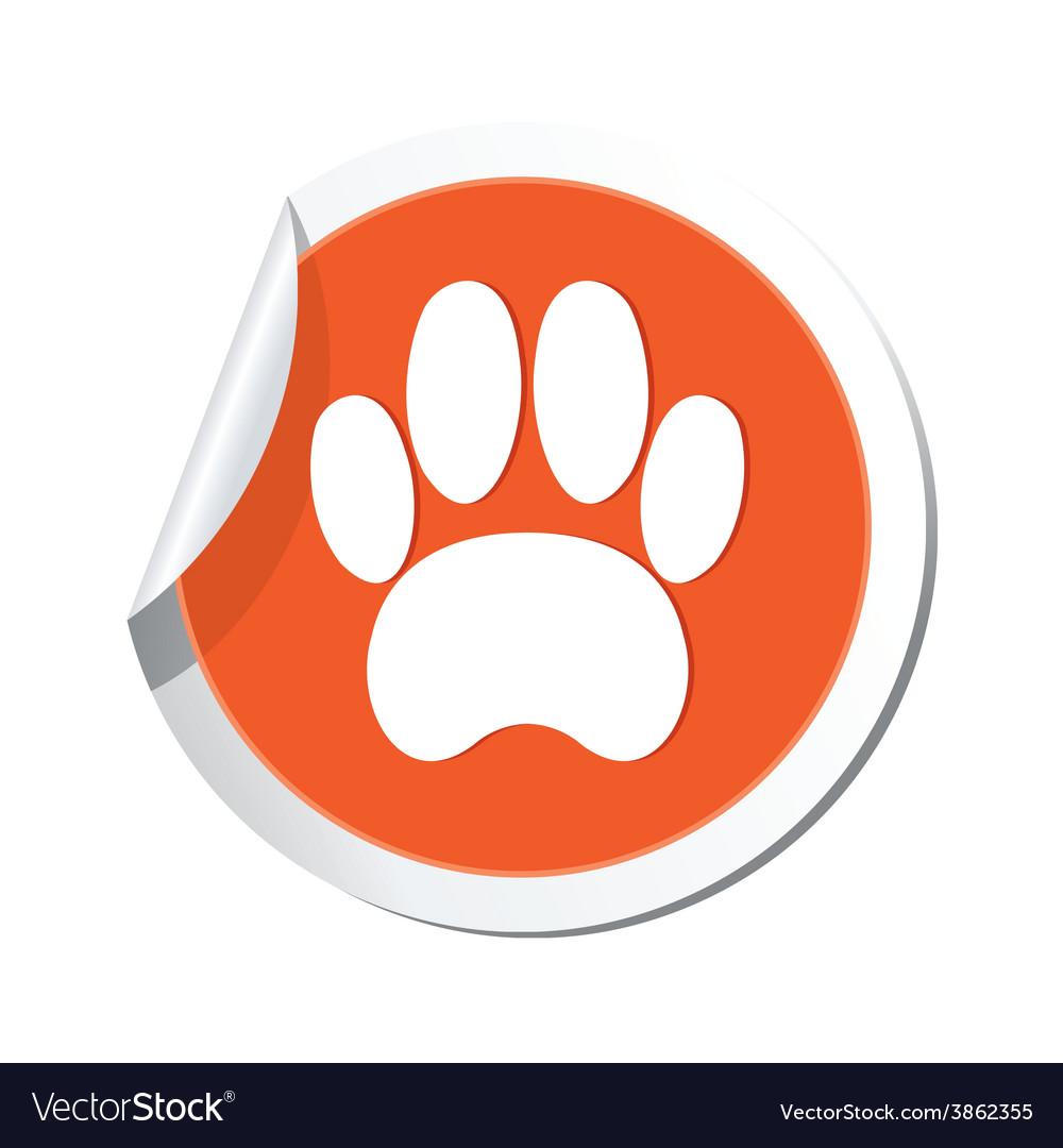 Animal footstep orange label vector | Price: 1 Credit (USD $1)