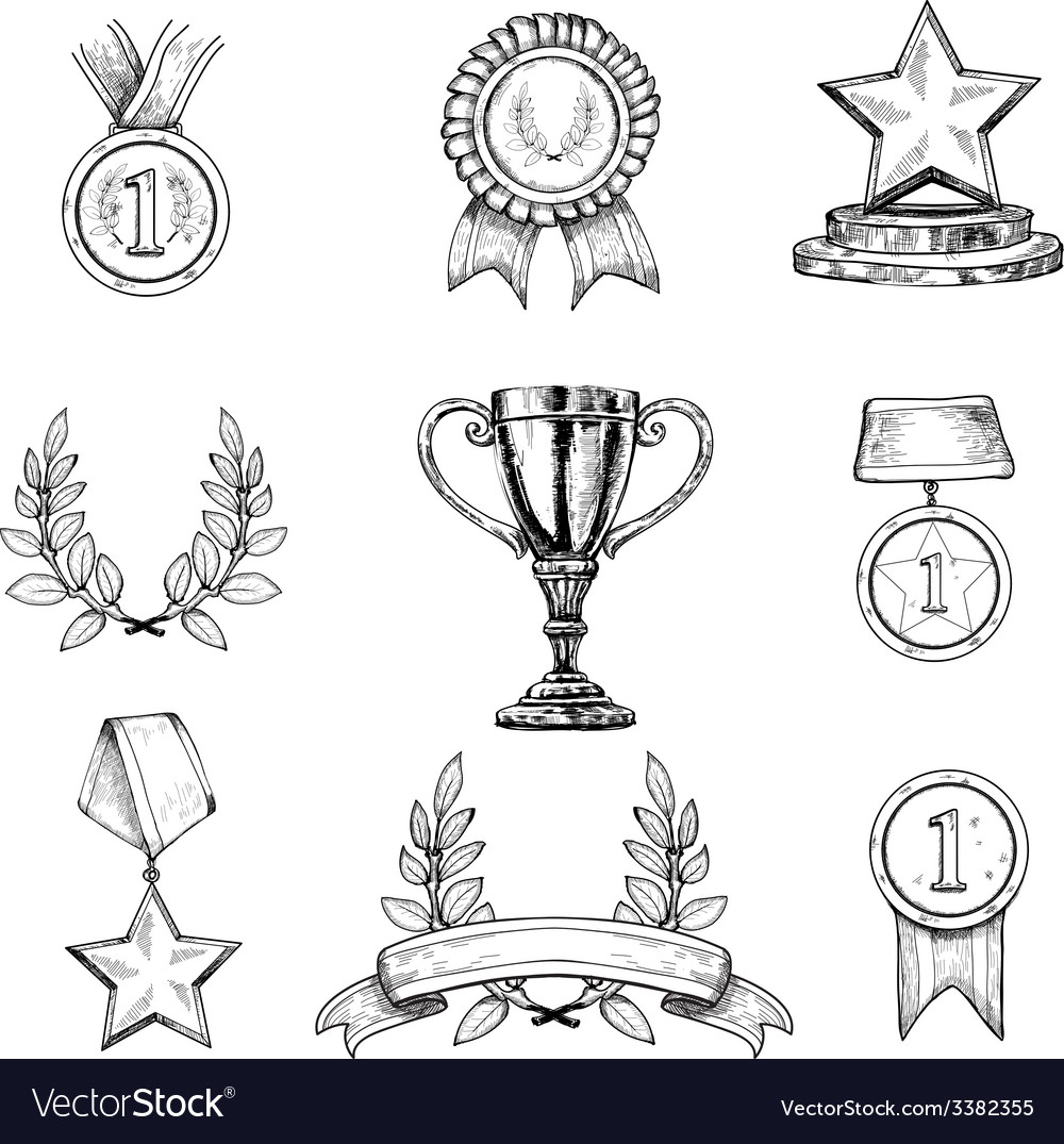 Award icons set vector | Price: 1 Credit (USD $1)