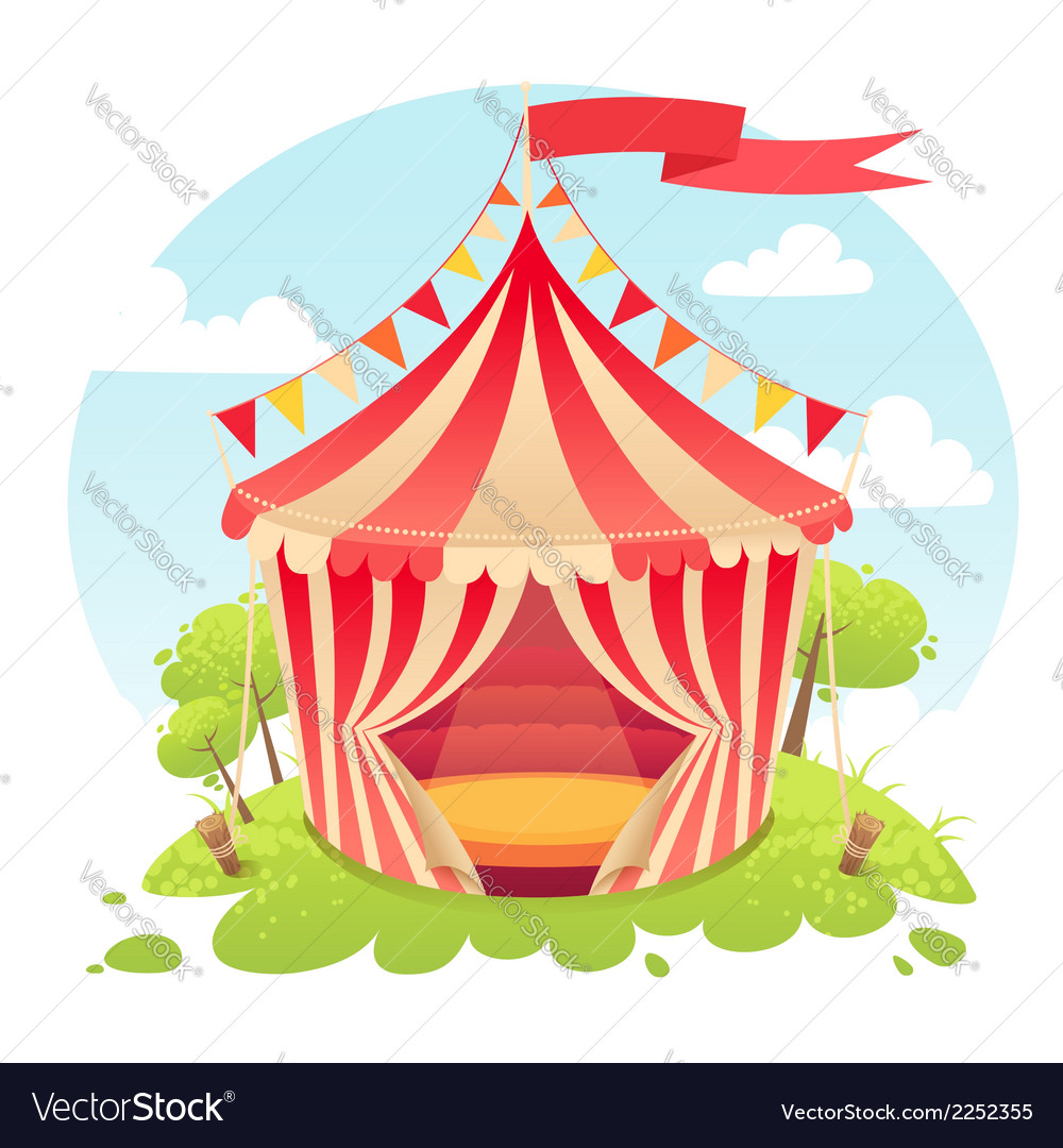 Cute cartoon tent show circus vector | Price: 1 Credit (USD $1)