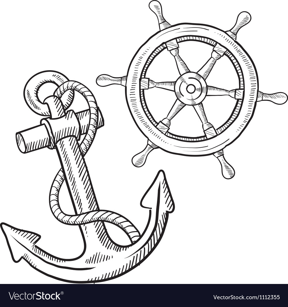 Doodle ship anchor wheel vector | Price: 1 Credit (USD $1)