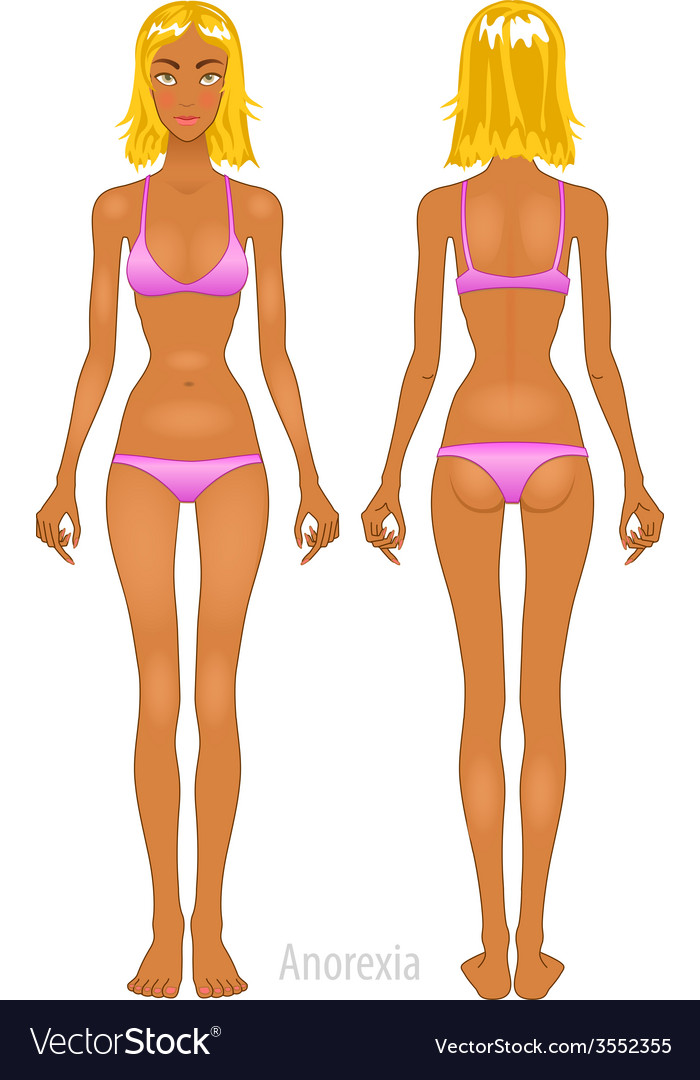 Fat and thin woman  normal anorexia body vector | Price: 1 Credit (USD $1)