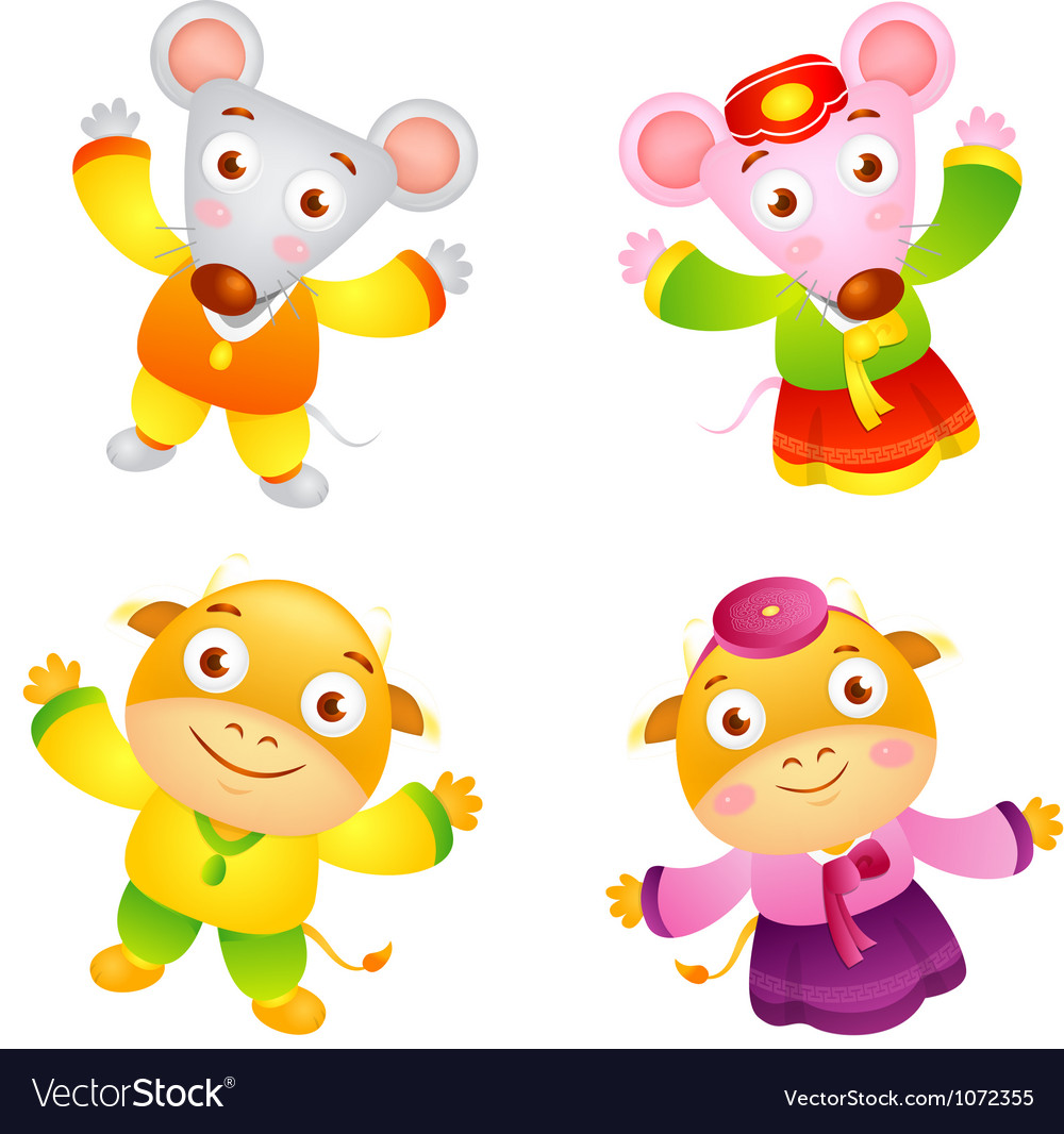Korean clothes put on the front stand up rat vector | Price: 1 Credit (USD $1)