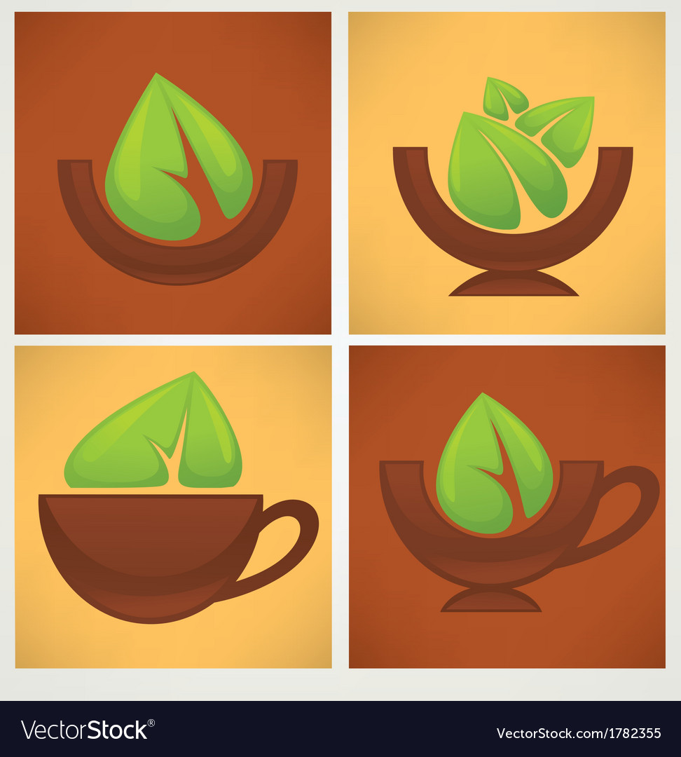 Leaves and bowls vector | Price: 1 Credit (USD $1)