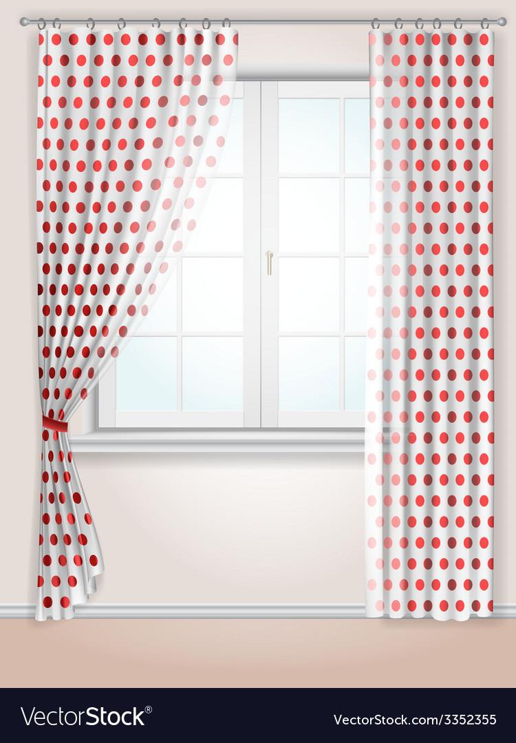 Polka dots curtains vector | Price: 3 Credit (USD $3)