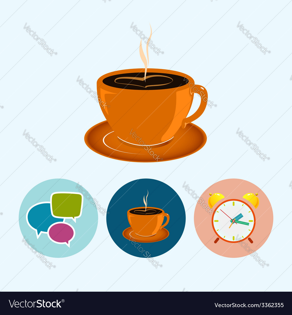 Set icons with speech bubble  cup of tea vector | Price: 1 Credit (USD $1)
