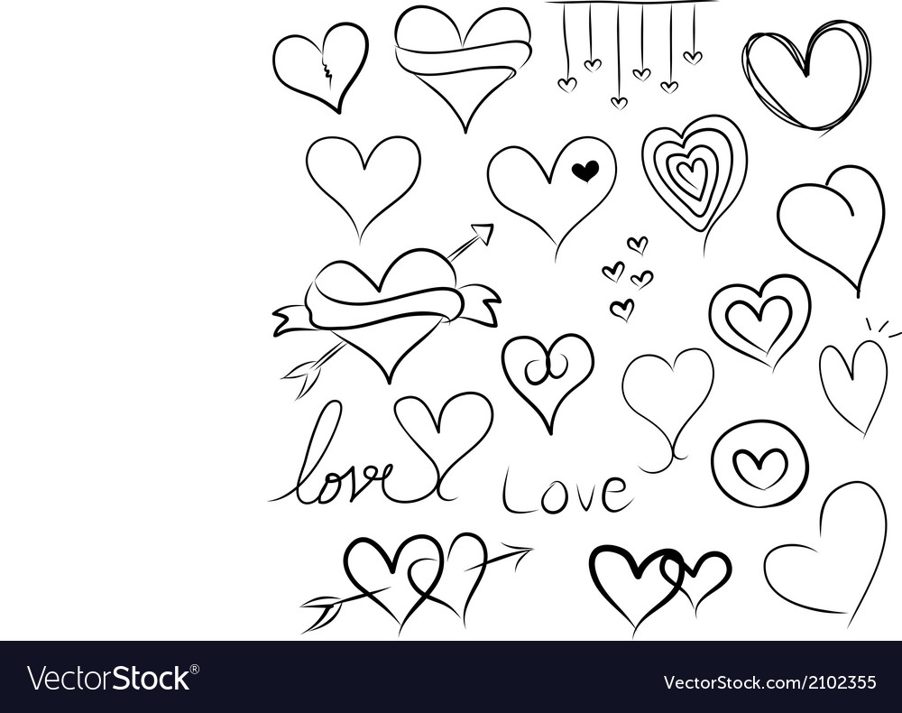 Set of doodle hearts vector | Price: 1 Credit (USD $1)
