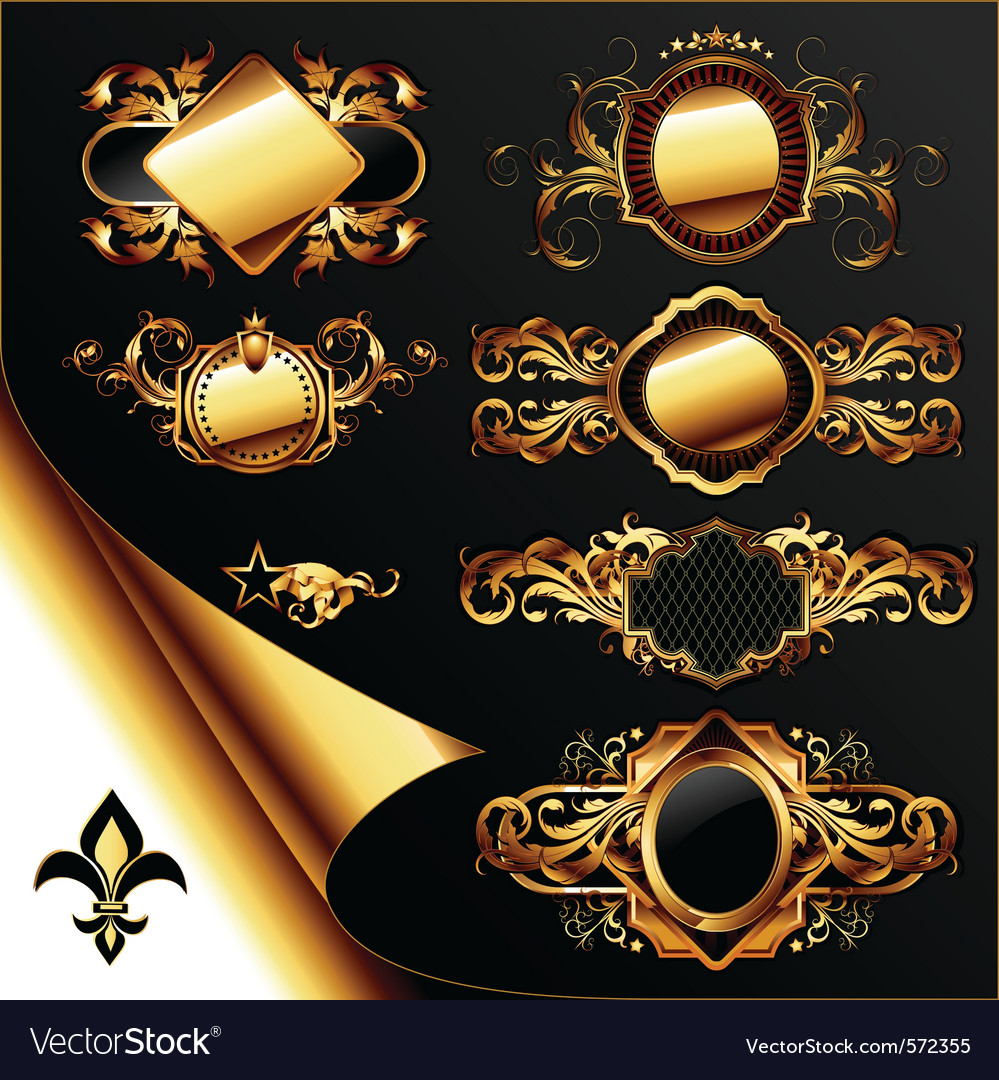 Set of ornamental golden labels vector | Price: 3 Credit (USD $3)