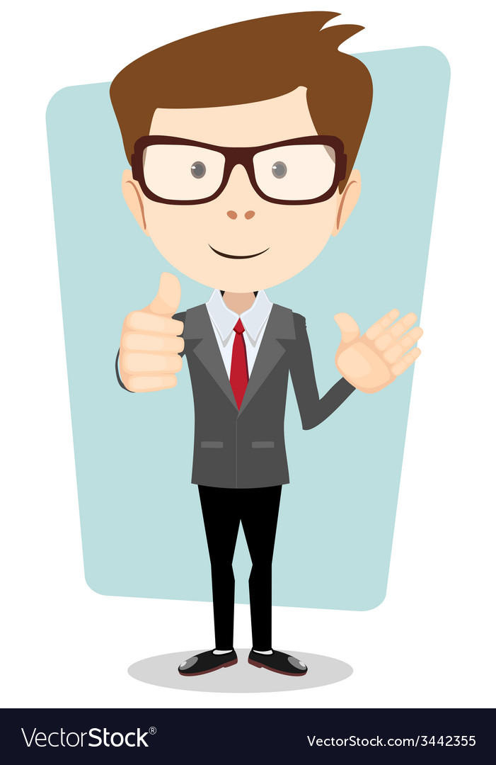 Smiling and friendly waving cartoon business man vector   Price: 1 Credit (USD $1)