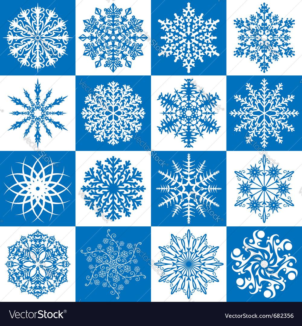 16 snowflakes vector | Price: 1 Credit (USD $1)