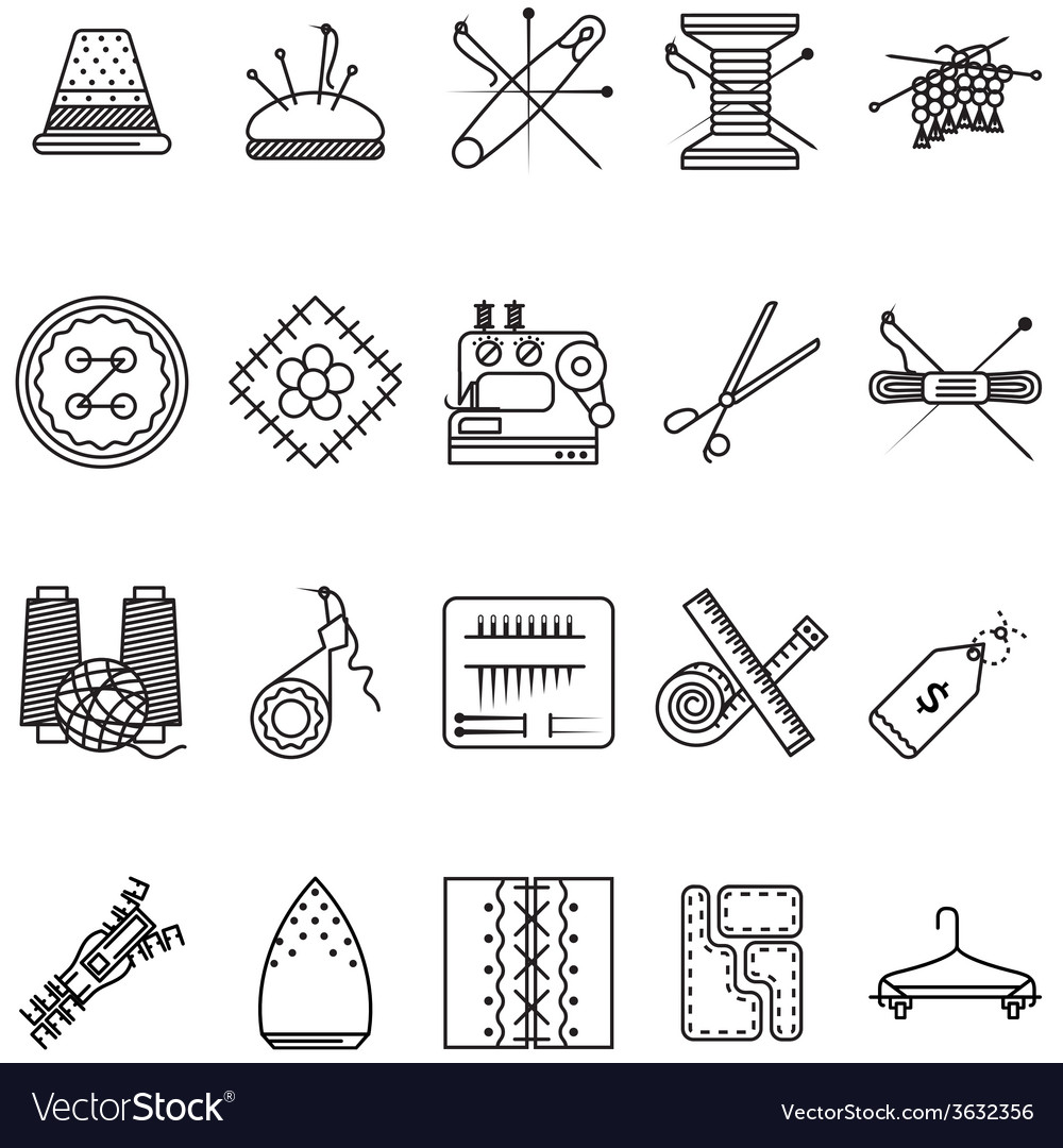 Black line icons collection for sewing or handmade vector | Price: 1 Credit (USD $1)
