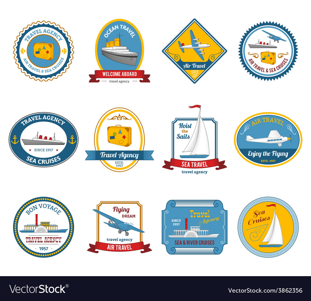 Cruise travel agency tours labels colored vector | Price: 1 Credit (USD $1)