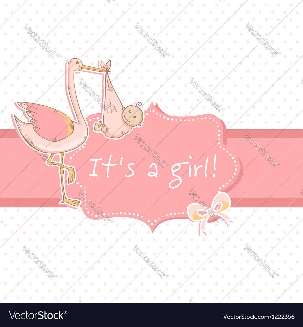 Cute baby girl announcement card with stork vector   Price: 1 Credit (USD $1)