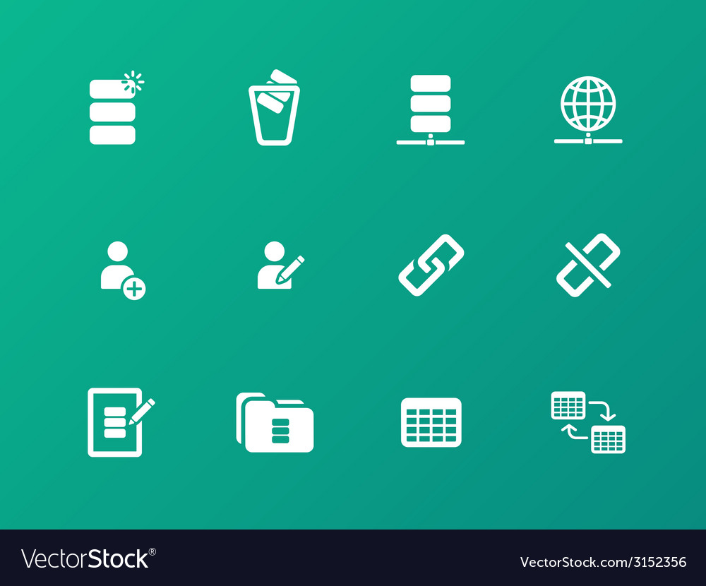 Database icons on green background vector | Price: 1 Credit (USD $1)