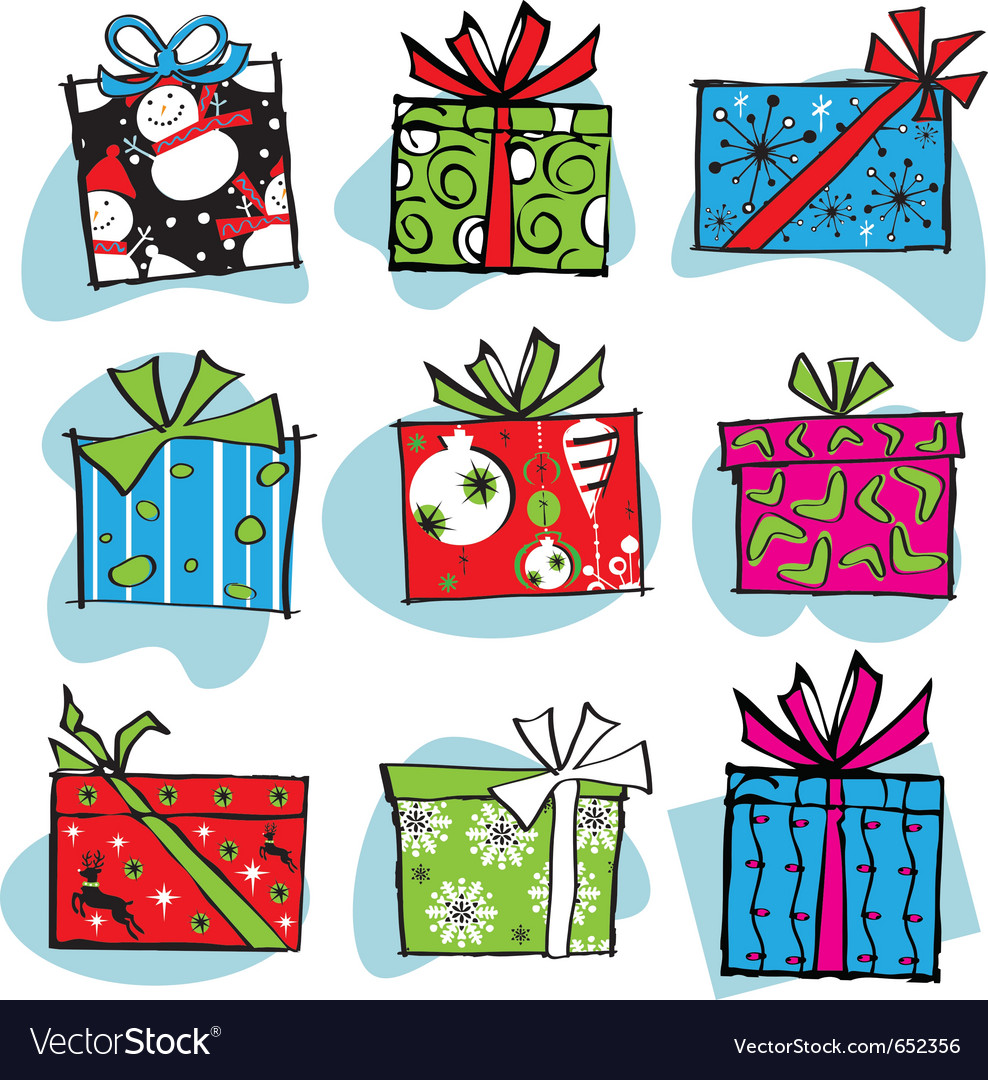 Fun and funky retro christmas gifts vector | Price: 1 Credit (USD $1)