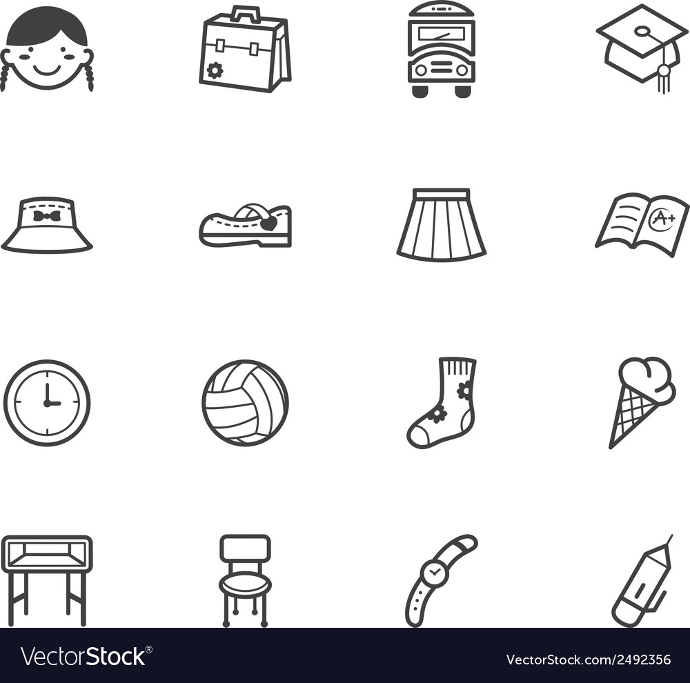 Girl school black icon set on white background vector | Price: 1 Credit (USD $1)