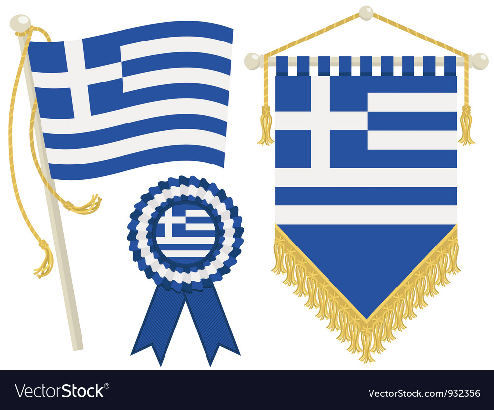 Greece flags vector | Price: 1 Credit (USD $1)