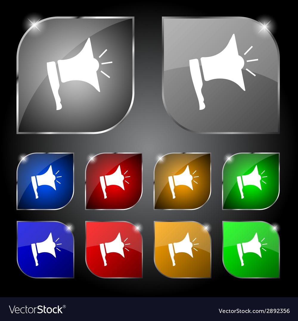 Megaphone soon icon loudspeaker symbol set colur vector | Price: 1 Credit (USD $1)