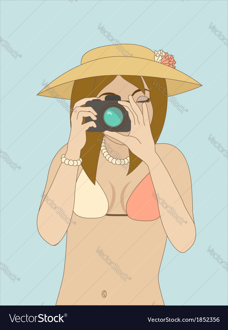 Photographer girl vector | Price: 1 Credit (USD $1)