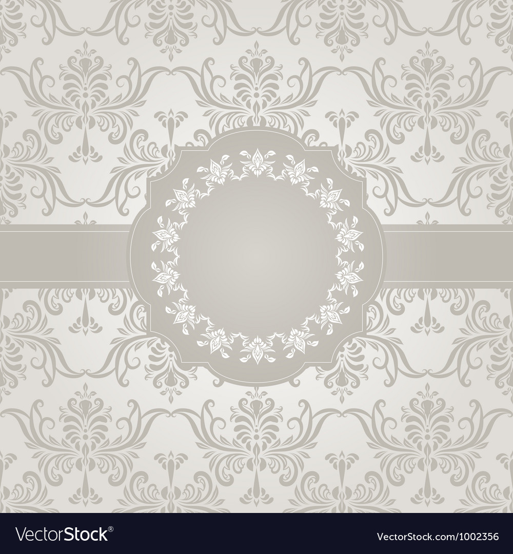 Seamless vintage wallpaper pattern with frame vector | Price: 1 Credit (USD $1)