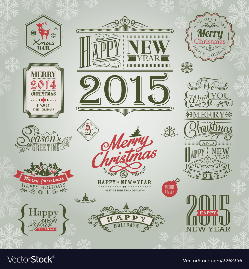 Set of christmas and new year design elements vector | Price: 1 Credit (USD $1)