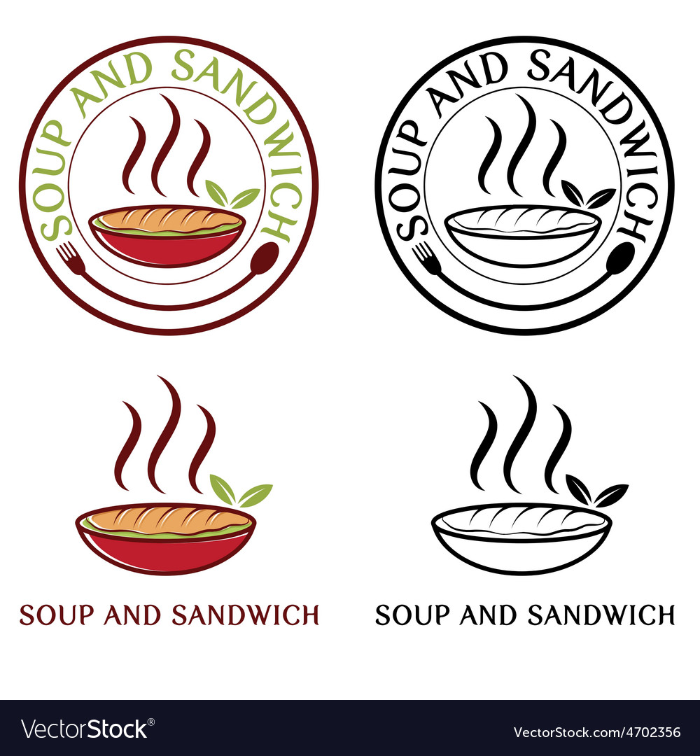 Soup and sandwich labels set vector | Price: 1 Credit (USD $1)