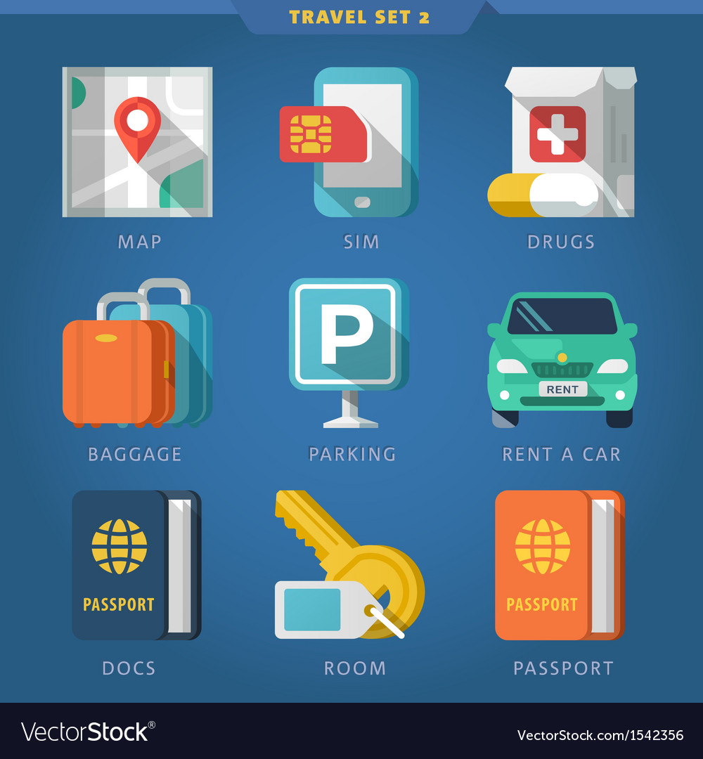 Travel icon set 2 vector | Price: 1 Credit (USD $1)