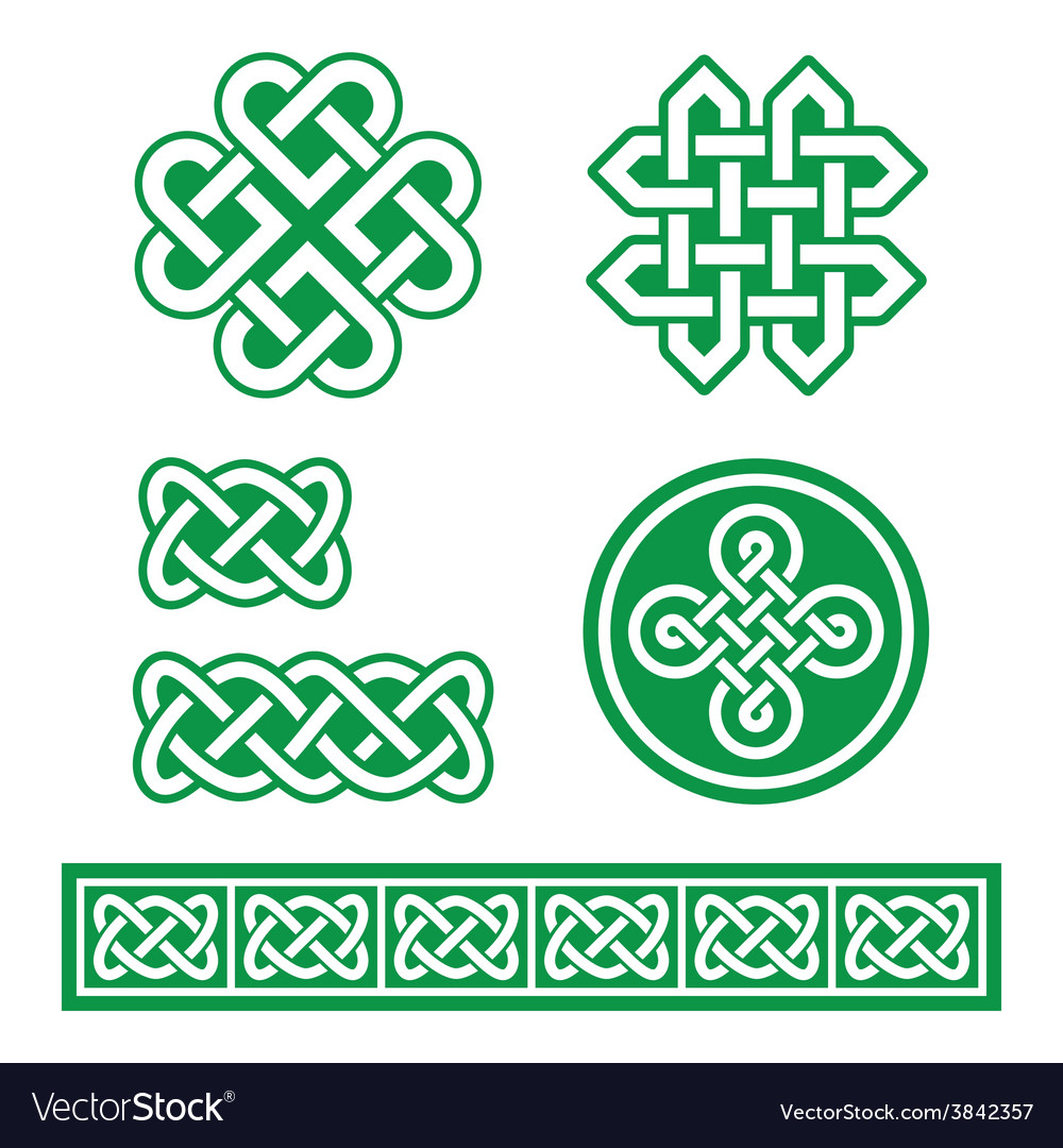 Celtic irish patterns and braids st patricks day vector | Price: 1 Credit (USD $1)