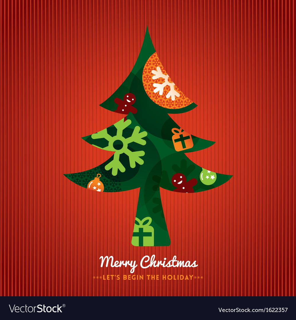 Christmas tree with lettering on red background vector | Price: 1 Credit (USD $1)