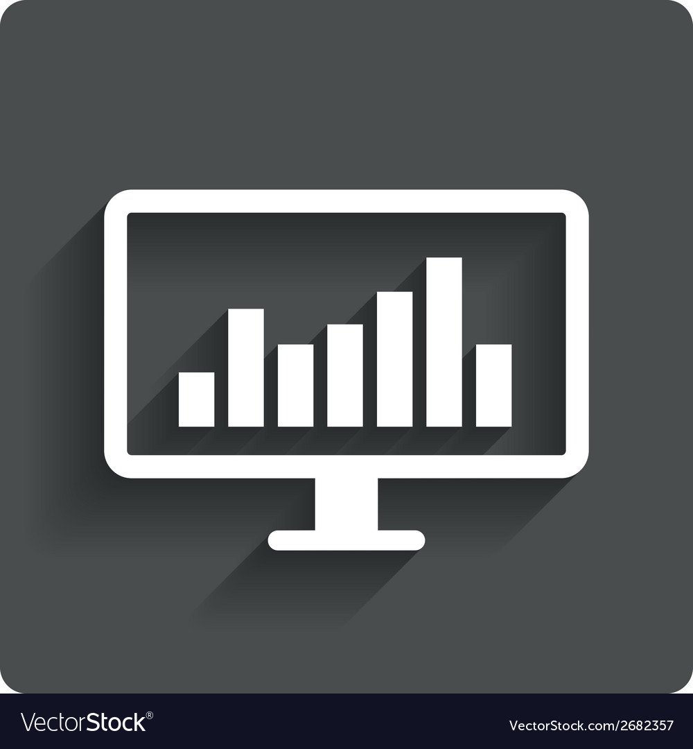 Computer monitor sign icon market monitoring vector | Price: 1 Credit (USD $1)