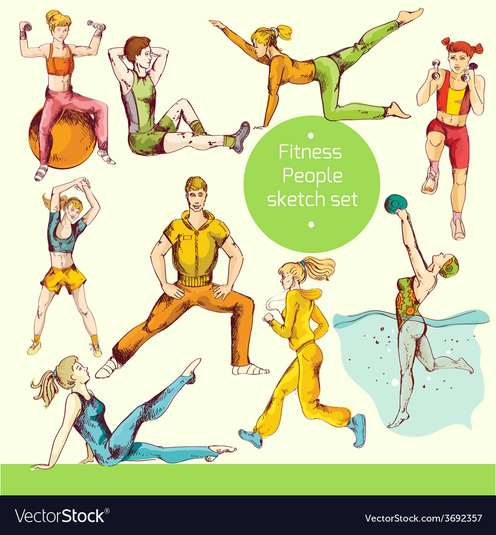 Fitness sketch colored vector | Price: 1 Credit (USD $1)