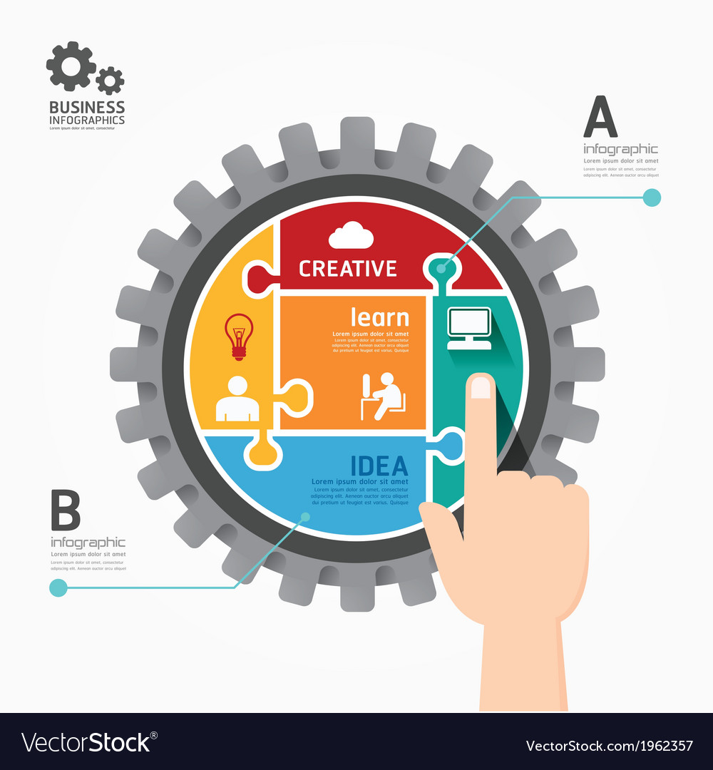 Gears infographics push template jigsaw banner vector | Price: 1 Credit (USD $1)