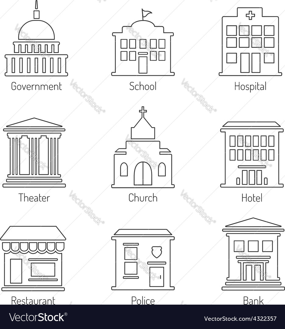 Government building outline icons set vector | Price: 1 Credit (USD $1)