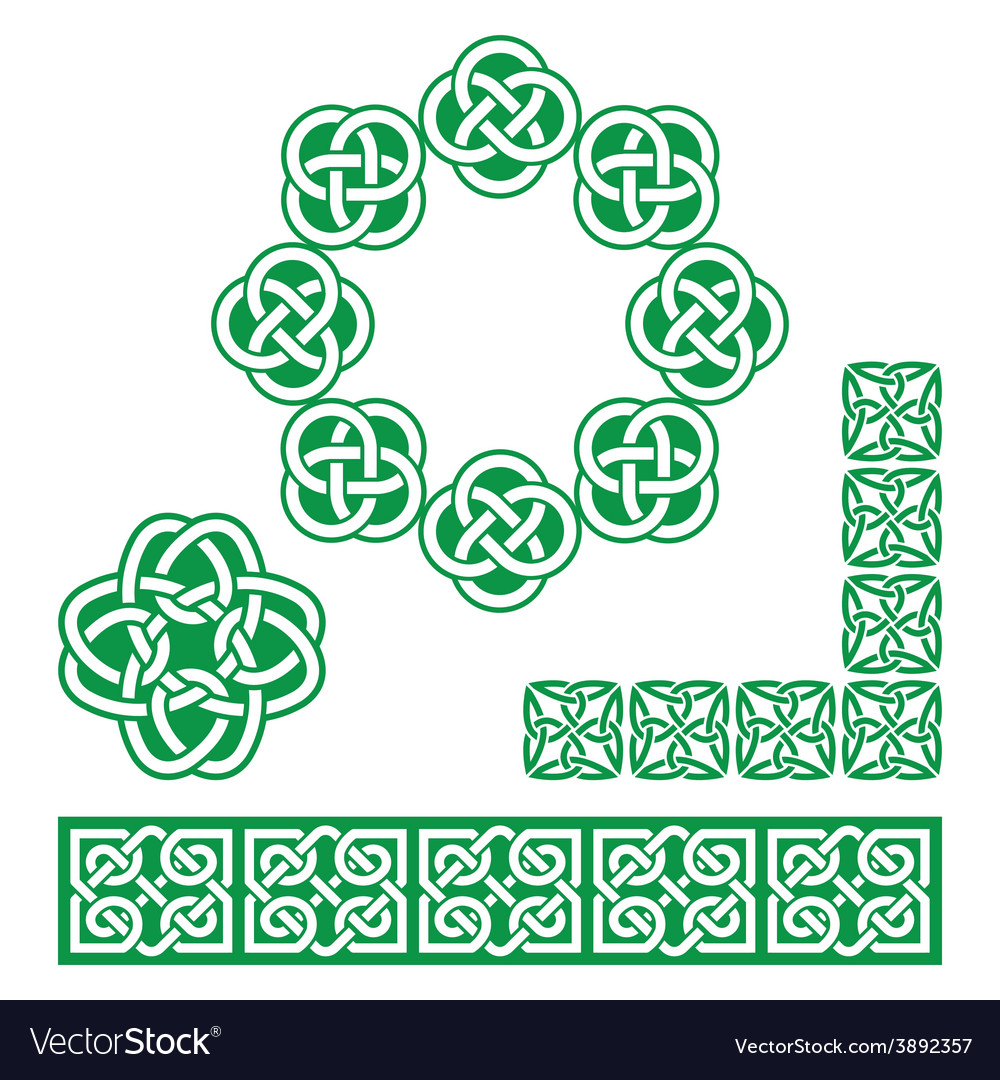 Irish celtic green design - patterns knots vector | Price: 1 Credit (USD $1)