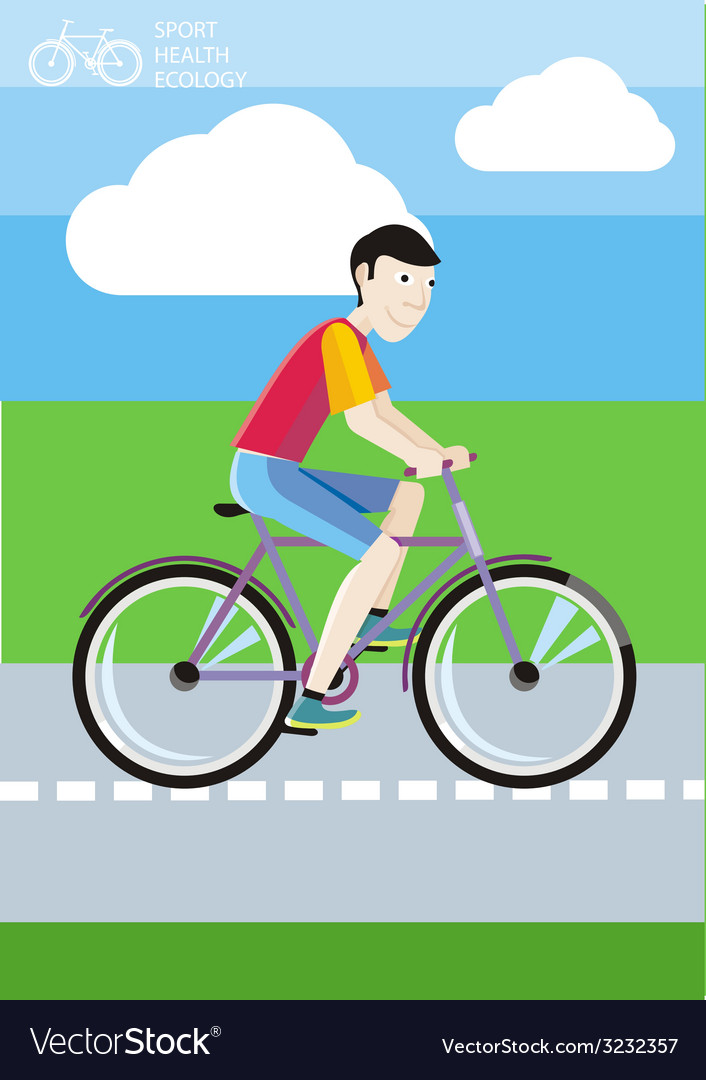 Man riding his bike on the road among green fields vector | Price: 1 Credit (USD $1)
