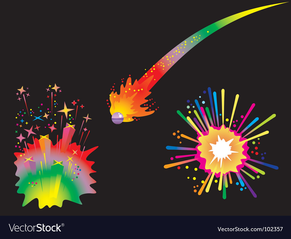 Set of holiday fireworks vector | Price: 1 Credit (USD $1)