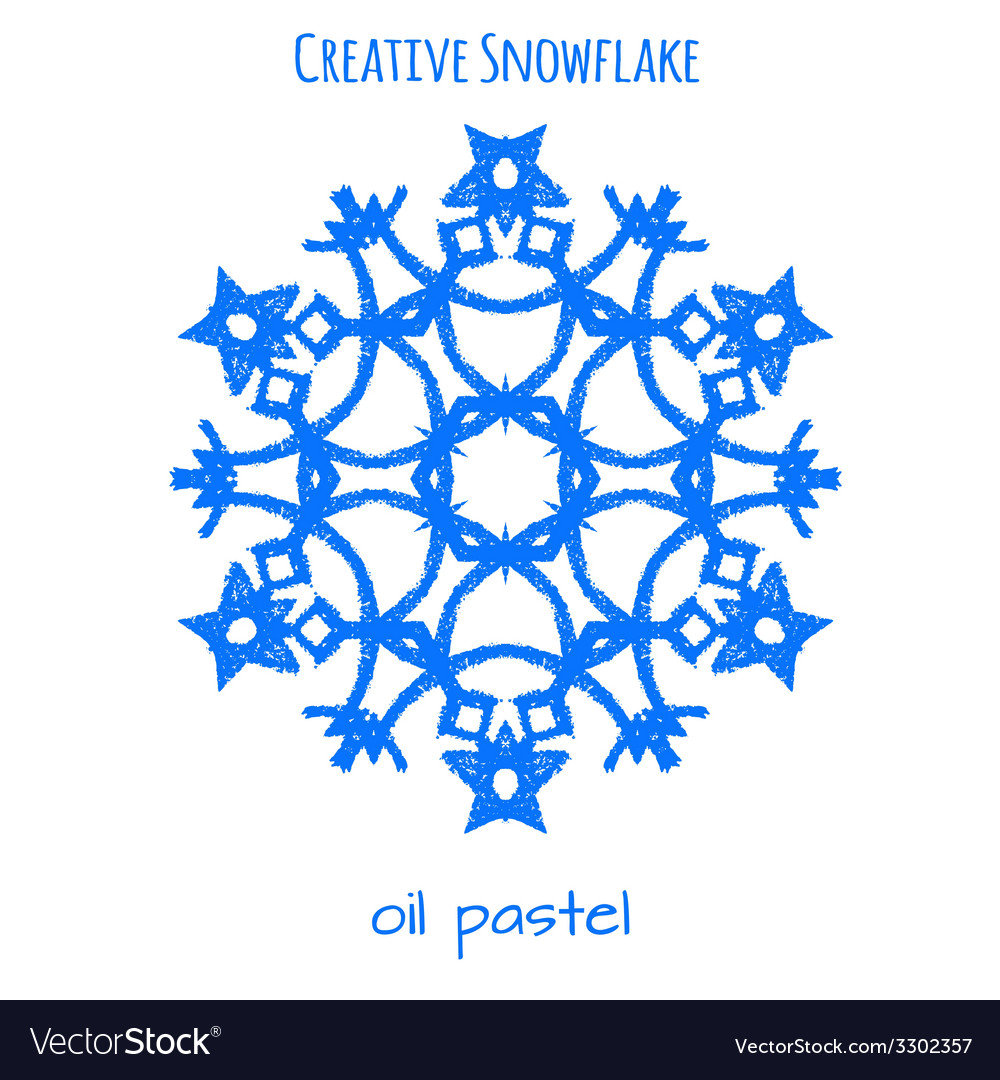 Snowflake hand drawn with oil pastels vector | Price: 1 Credit (USD $1)