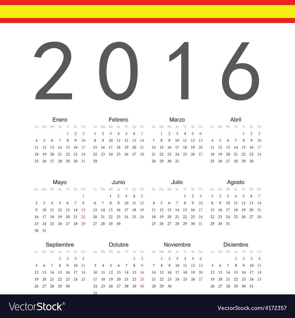 Square spanish 2016 year calendar vector | Price: 1 Credit (USD $1)