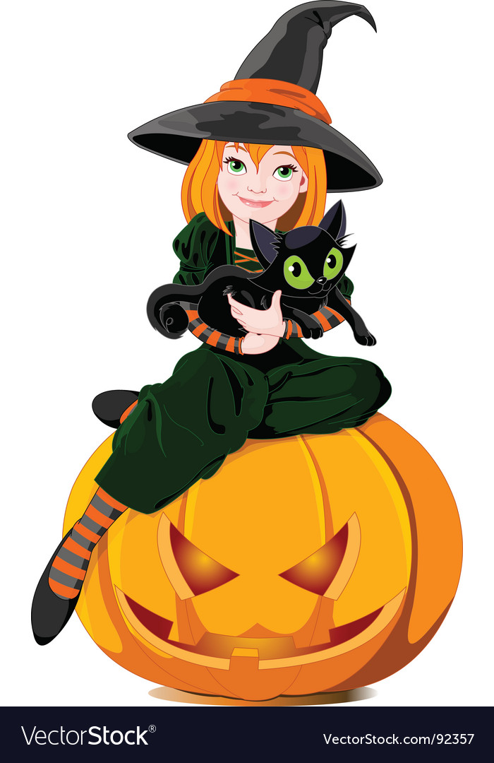 Witch and cat vector | Price: 5 Credit (USD $5)