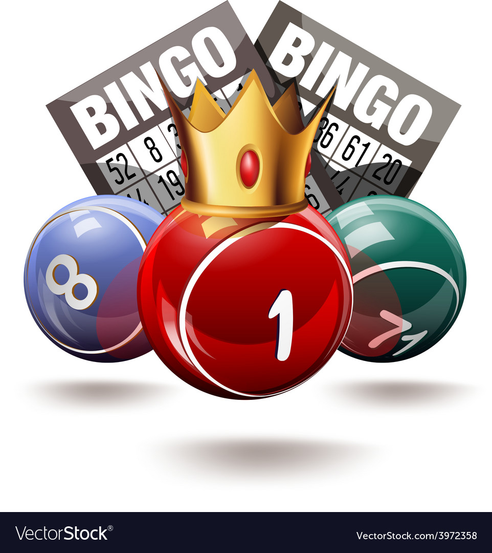 Bingo or lottery balls and cards with crown vector | Price: 3 Credit (USD $3)