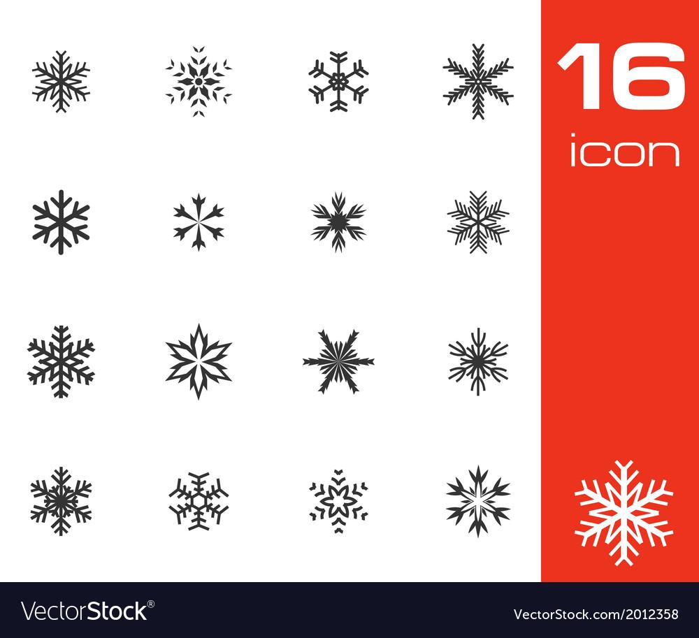 Black snowflake icons set vector | Price: 1 Credit (USD $1)