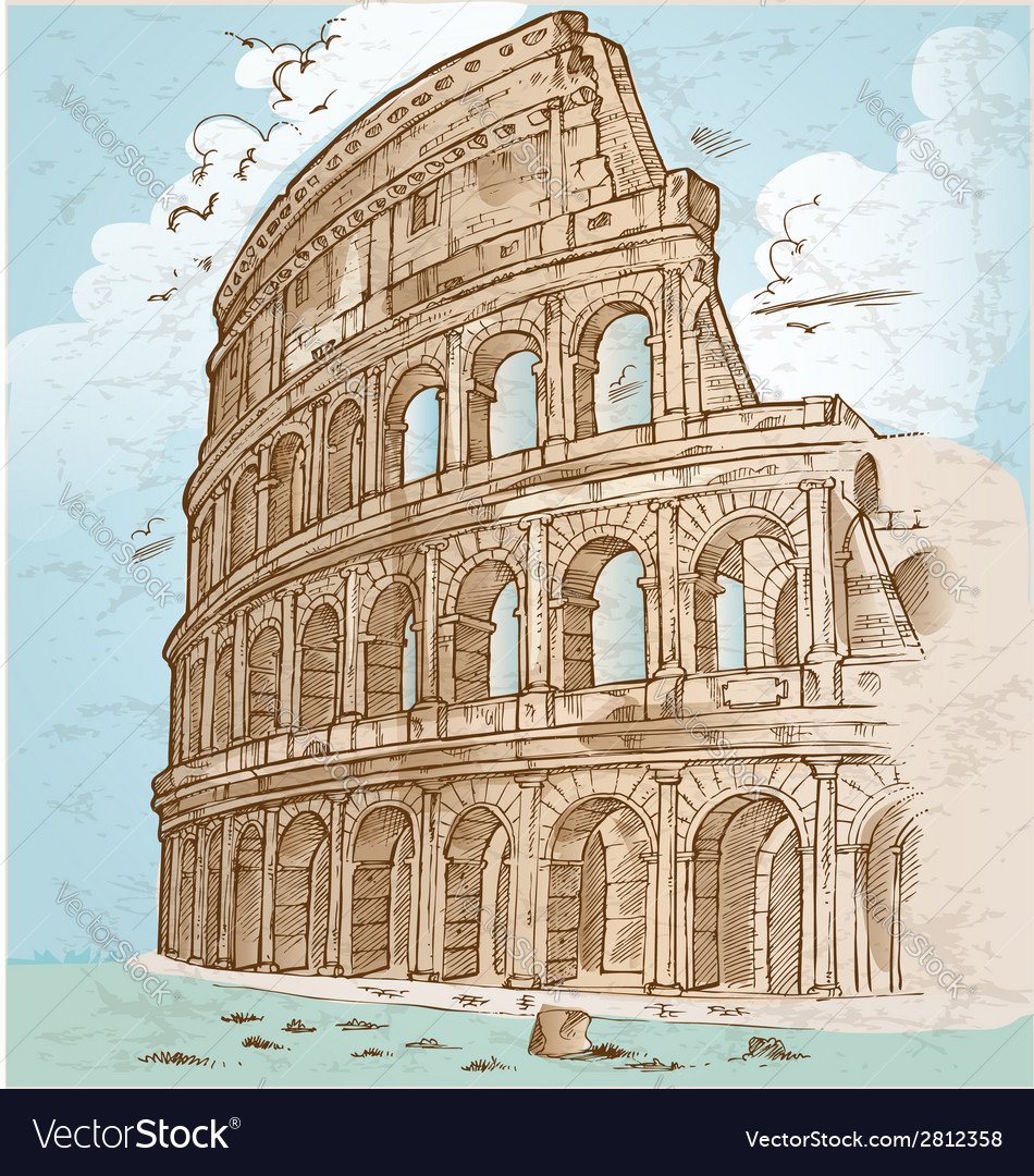 Colosseum color hand draw vector | Price: 1 Credit (USD $1)